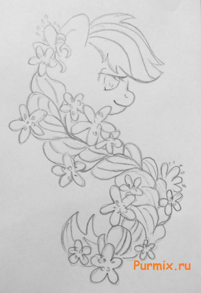 Рисуем пони Эпплджек из Дружба - это чудо - шаг 3