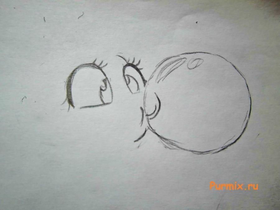 Рисуем пони Пинки Пай c шариком из жвачки - шаг 1