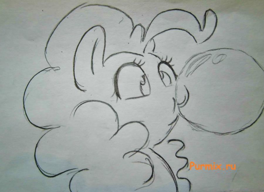 Рисуем пони Пинки Пай c шариком из жвачки - шаг 3