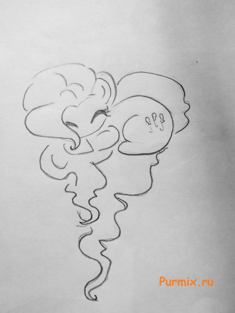Рисуем Пинки пай в форме сердечка - шаг 3