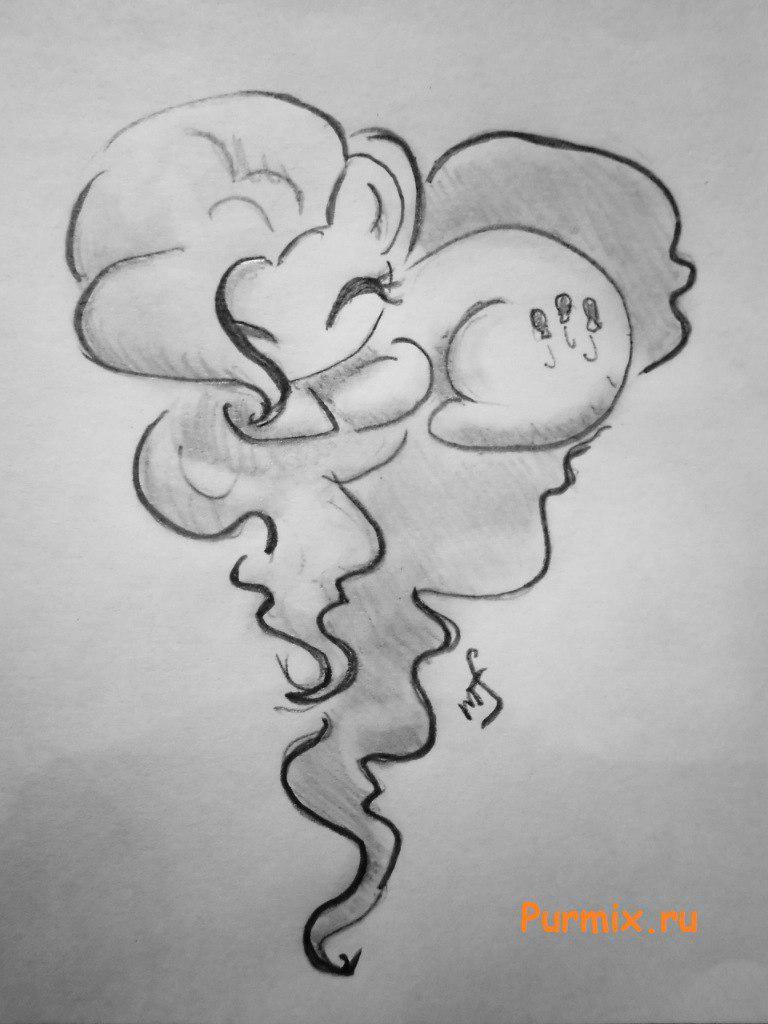 Рисуем Пинки пай в форме сердечка - шаг 5
