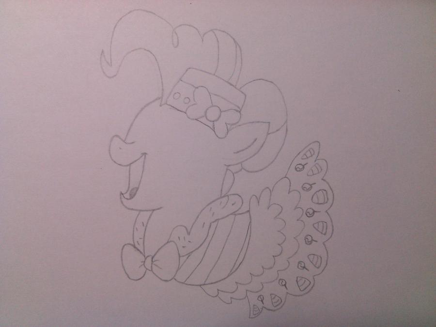 Рисуем пони Пинки Пай в праздничном платье - шаг 3