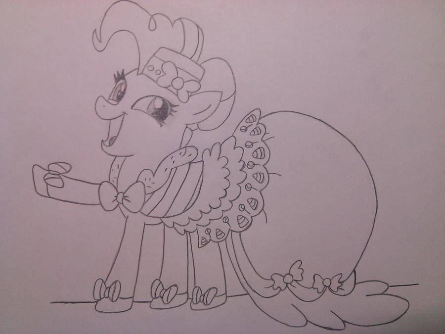 Рисуем пони Пинки Пай в праздничном платье - шаг 6