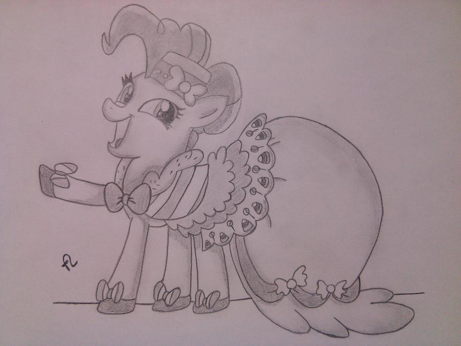 Рисуем пони Пинки Пай в праздничном платье - шаг 8