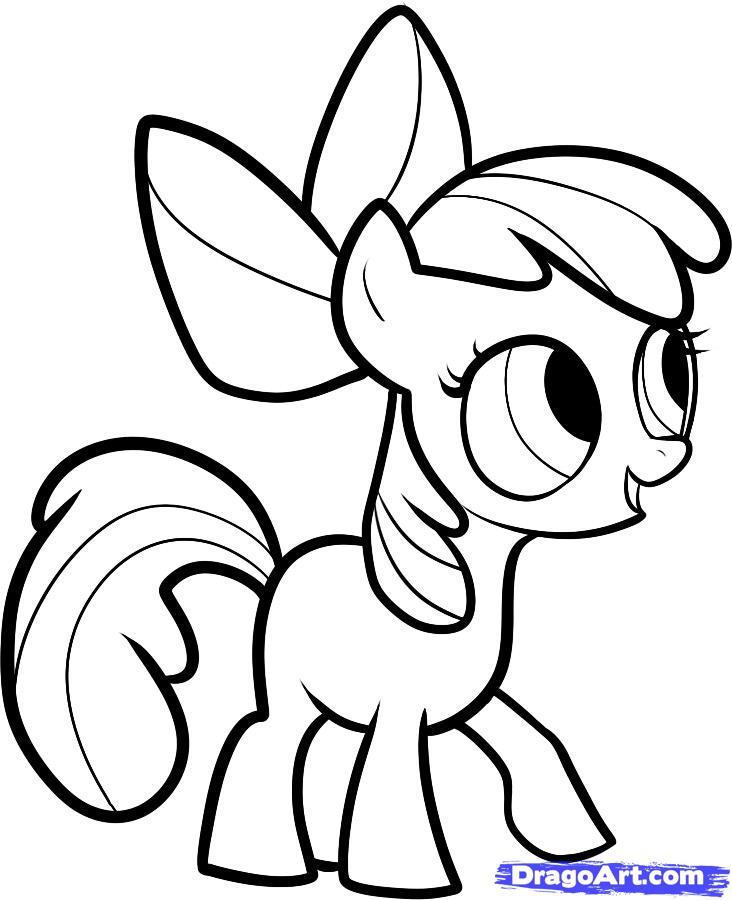 Как нарисовать пони Эппл Блум (Apple Bloom) карандашом поэтапно