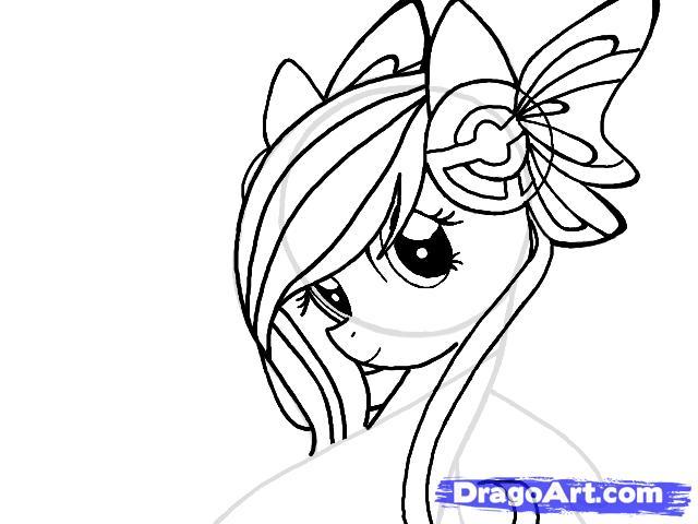 Рисуем портрет пони Флаттершай - шаг 7