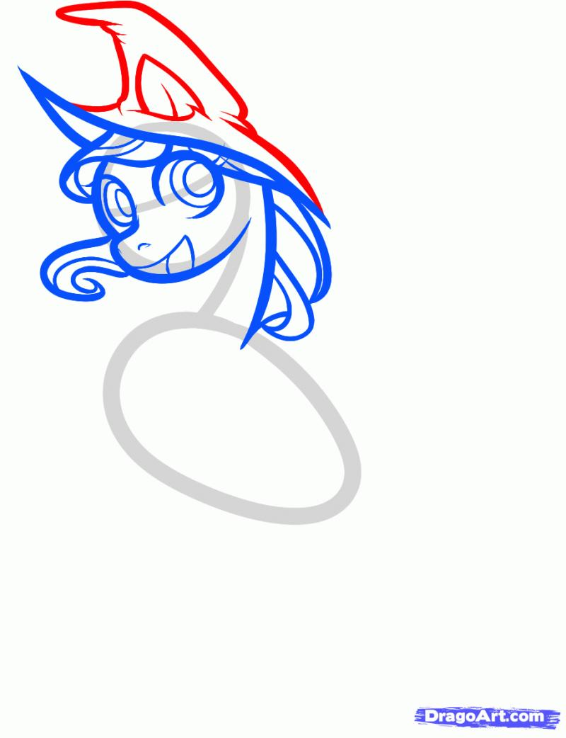 Как нарисовать пони на хэллоуин карандашом поэтапно