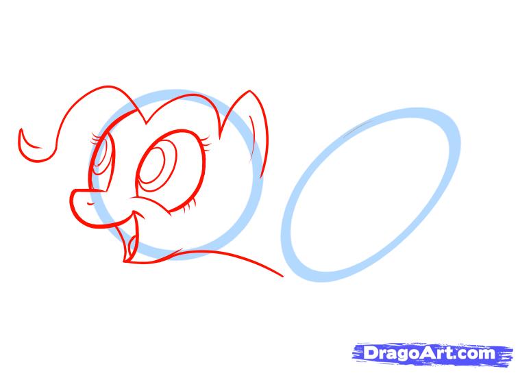 Рисуем пони Пинки Пай на пушке - шаг 2