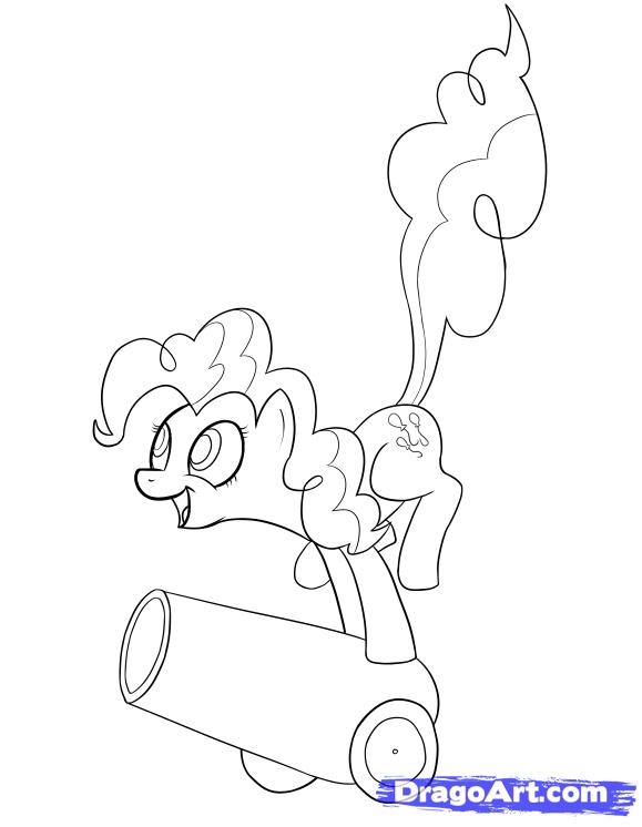 Как нарисовать пони Пинки Пай на пушке карандашом поэтапно