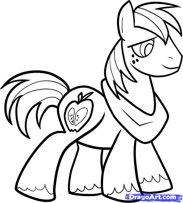 Как нарисовать пони по имени Большой Маки карандашом поэтапно