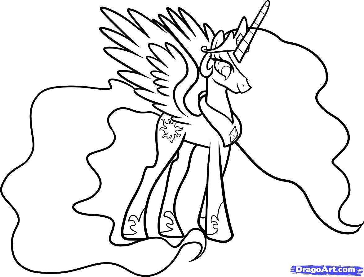 Как нарисовать Принцессу Селестию карандашом поэтапно