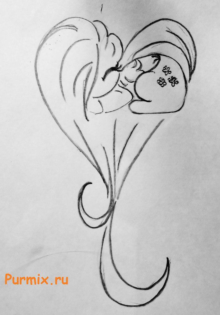 Рисуем пони Флаттершай в виде сердца - шаг 4