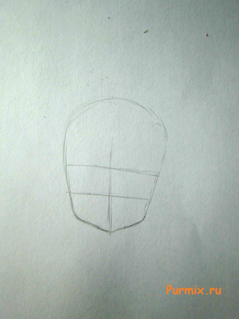 Рисуем маленькую аниме девочку с подарком в руках - шаг 1