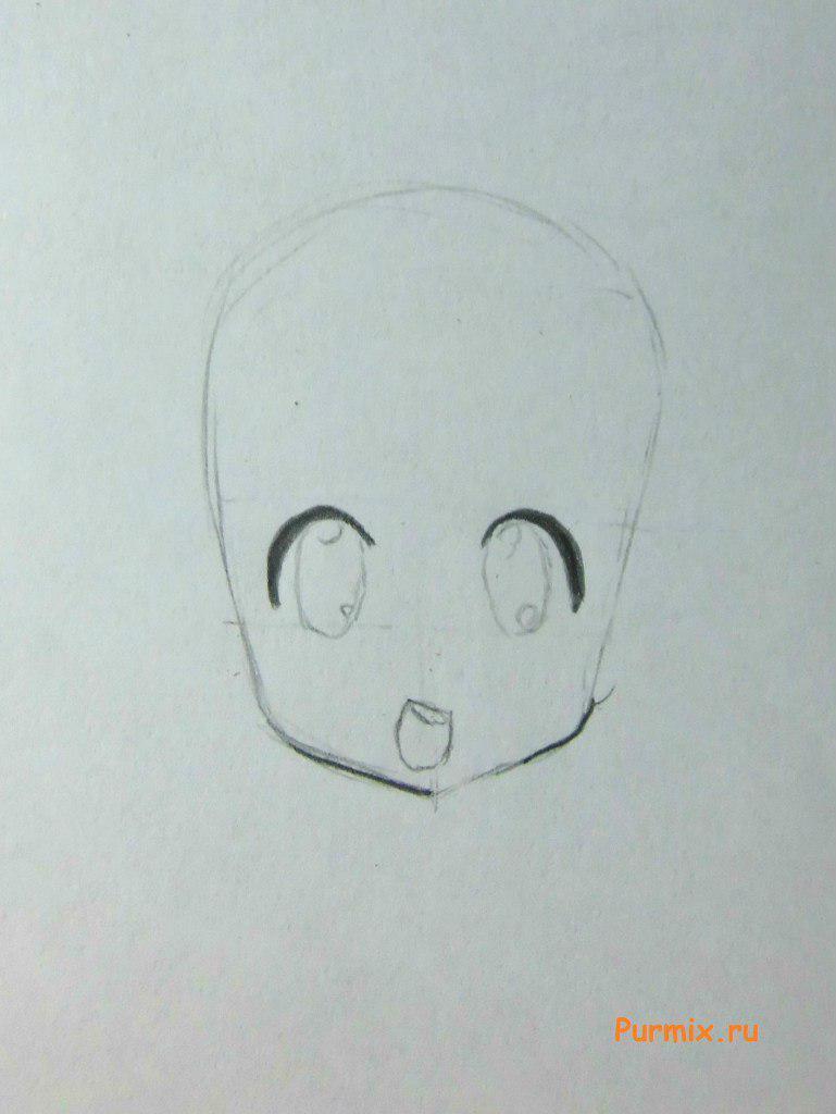 Рисуем маленькую аниме девочку с подарком в руках - шаг 2