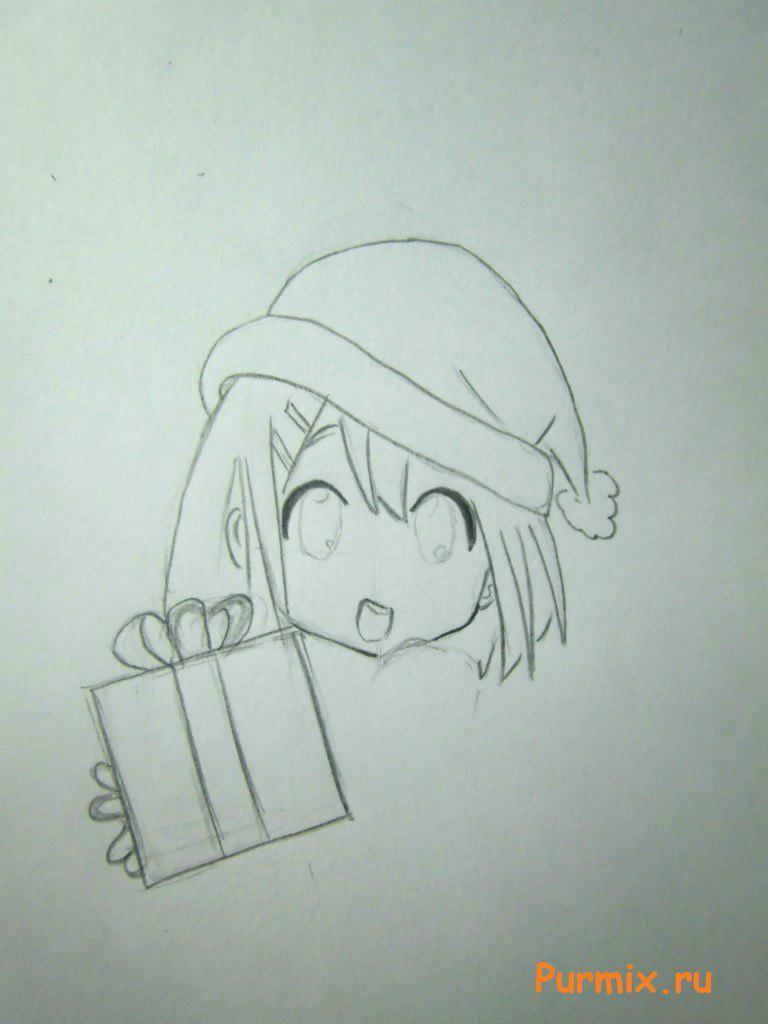 Рисуем маленькую аниме девочку с подарком в руках - шаг 3