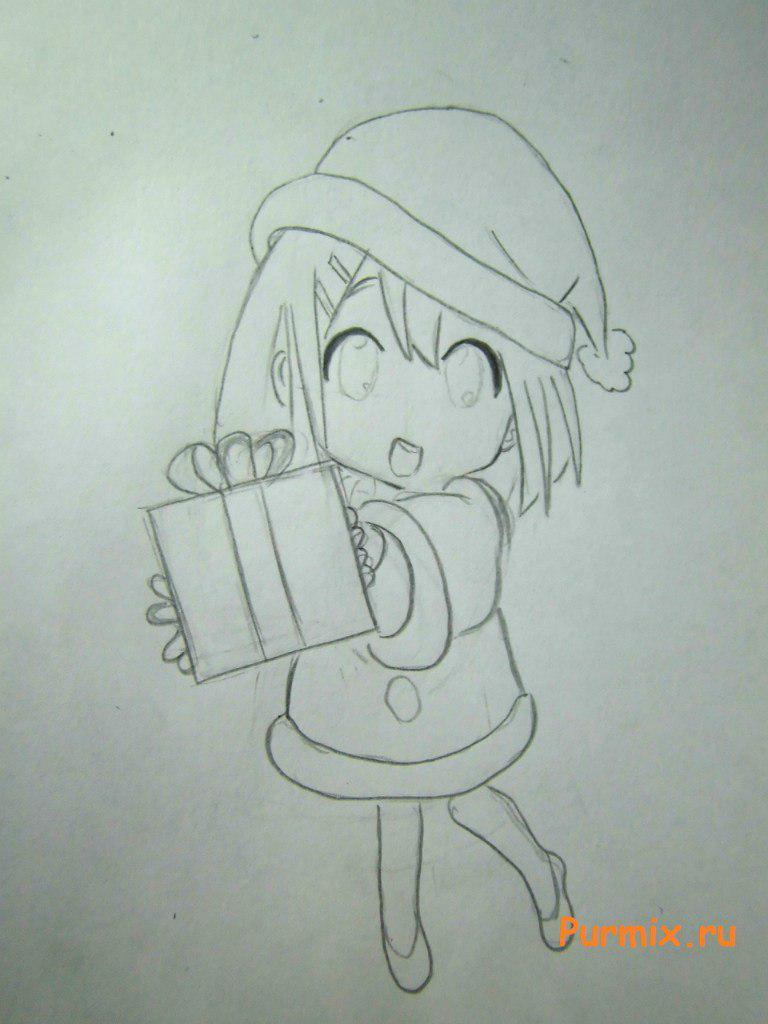 Рисуем маленькую аниме девочку с подарком в руках - шаг 4