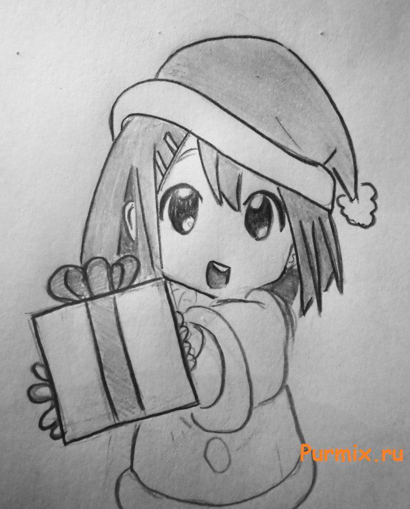 Рисуем маленькую аниме девочку с подарком в руках - шаг 6