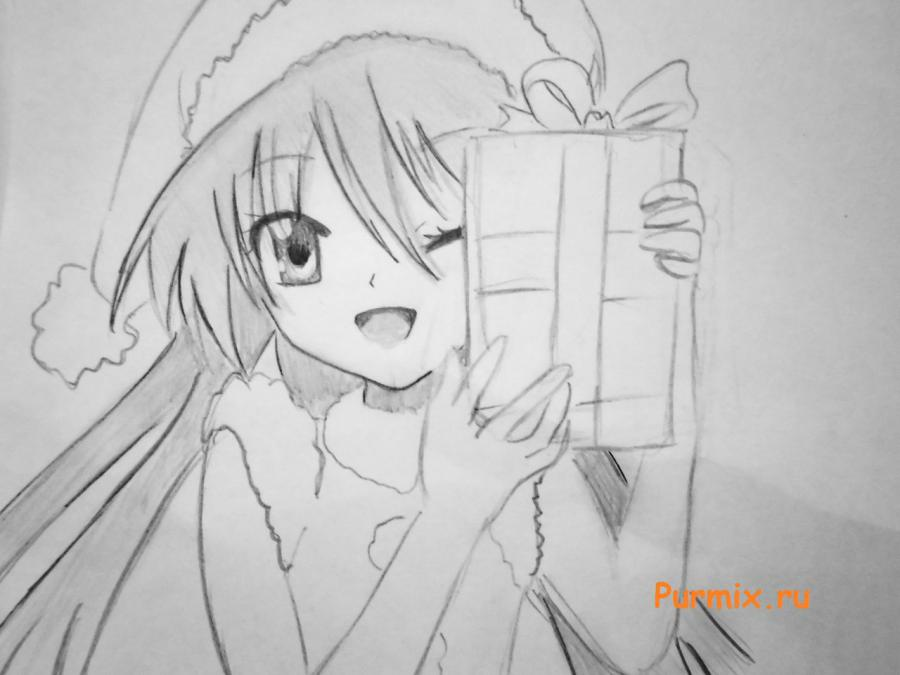 Рисуем аниме девушку в новогоднем костюме с подарком в руках