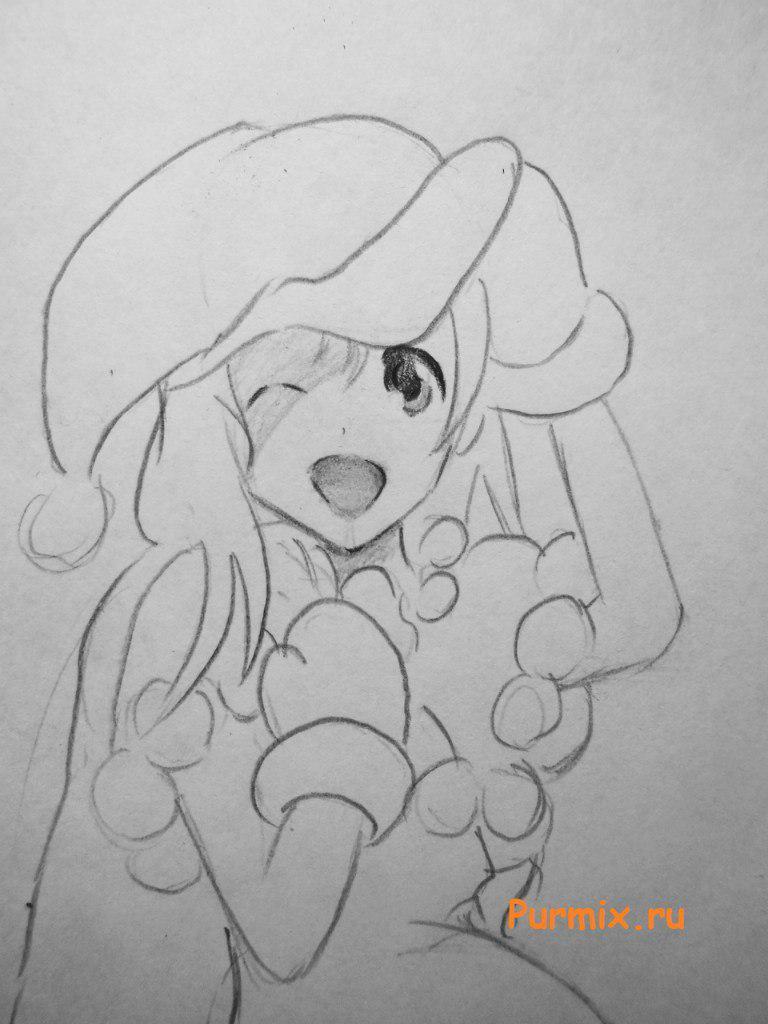 Рисуем аниме девушку в новогоднем и мешком с подарками - шаг 6