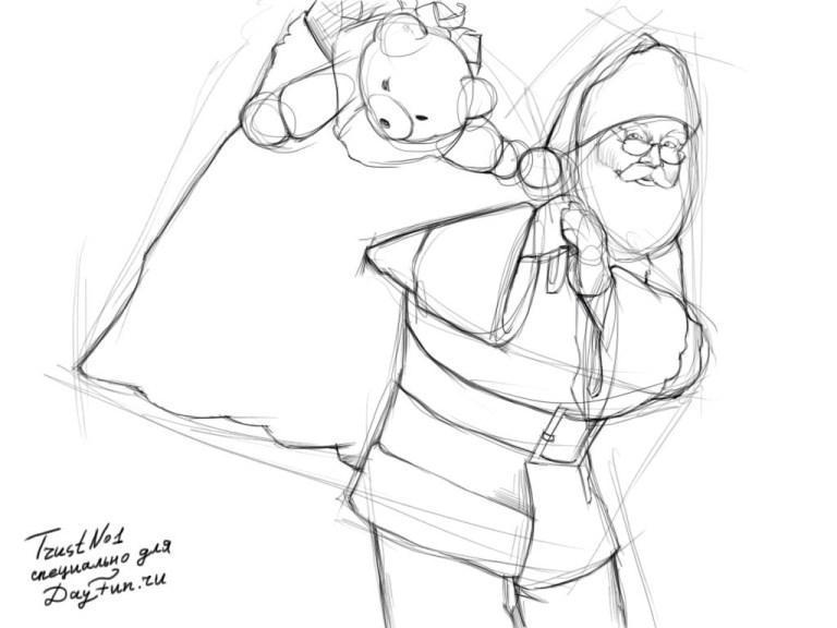 Рисуем деда мороза с мешком подарков - шаг 3