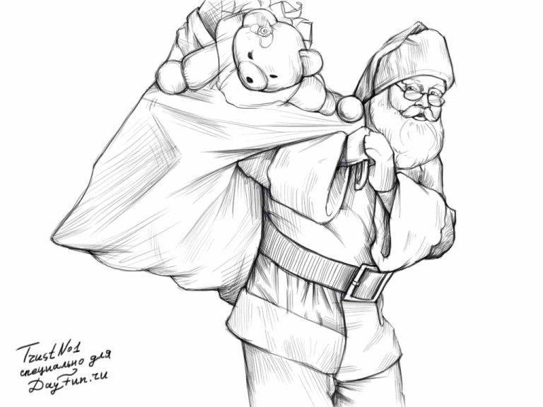 Рисуем деда мороза с мешком подарков - шаг 4