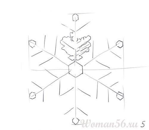 Рисуем красивую снежинку - шаг 5