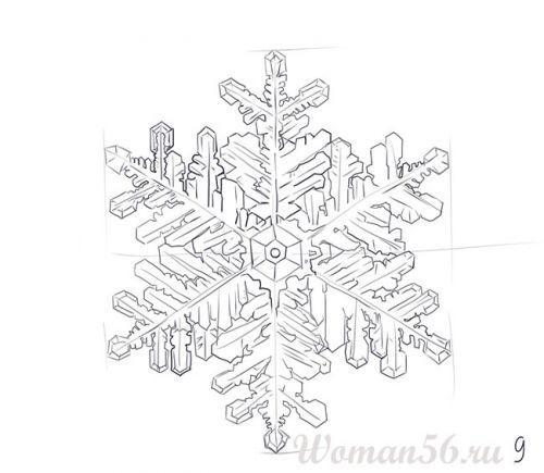 Рисуем красивую снежинку - шаг 9
