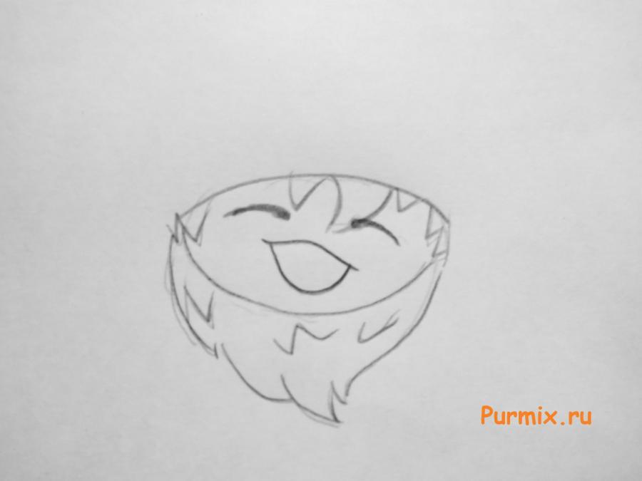Рисуем маленького чиби деда мороза простым - шаг 2