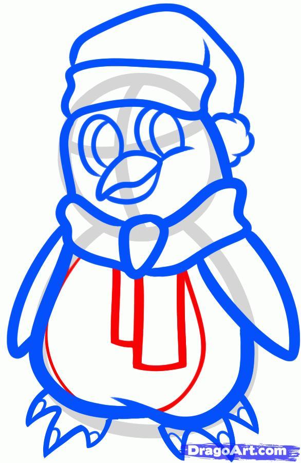 Рисуем новогоднего пингвина - шаг 8