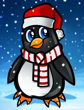 Как нарисовать новогоднего пингвина карандашом