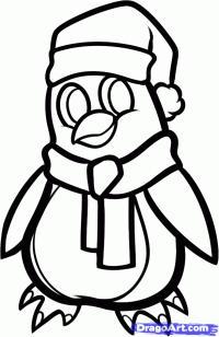 новогоднего пингвина карандашом