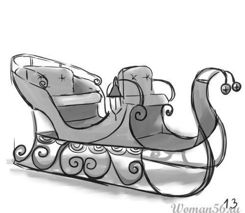 Рисуем сани Деда Мороза
