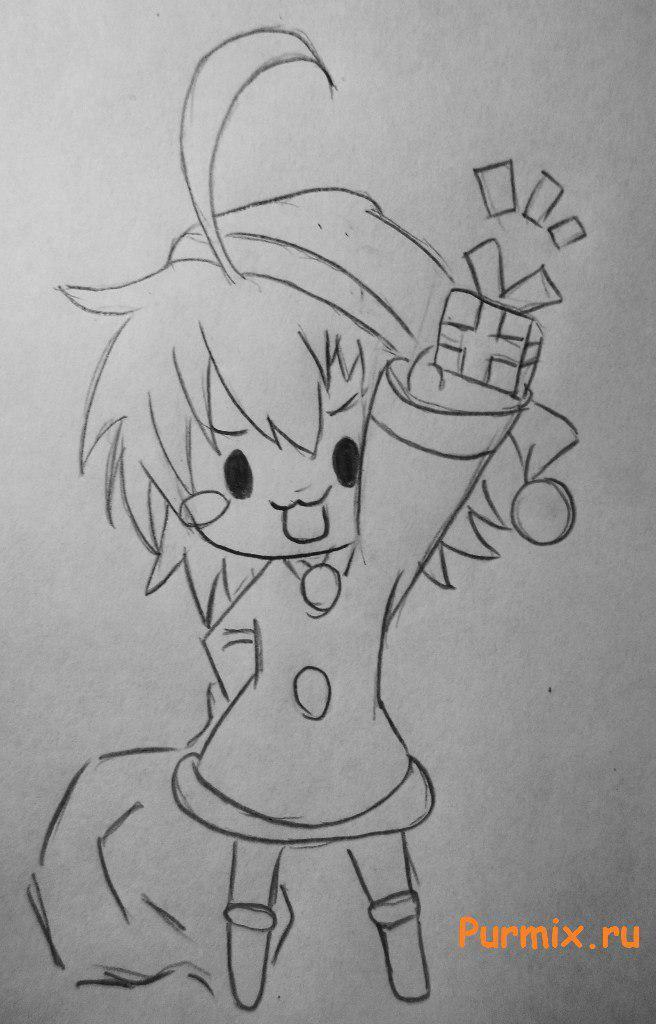 Рисуем счастливую чиби в новогоднем костюме - шаг 3