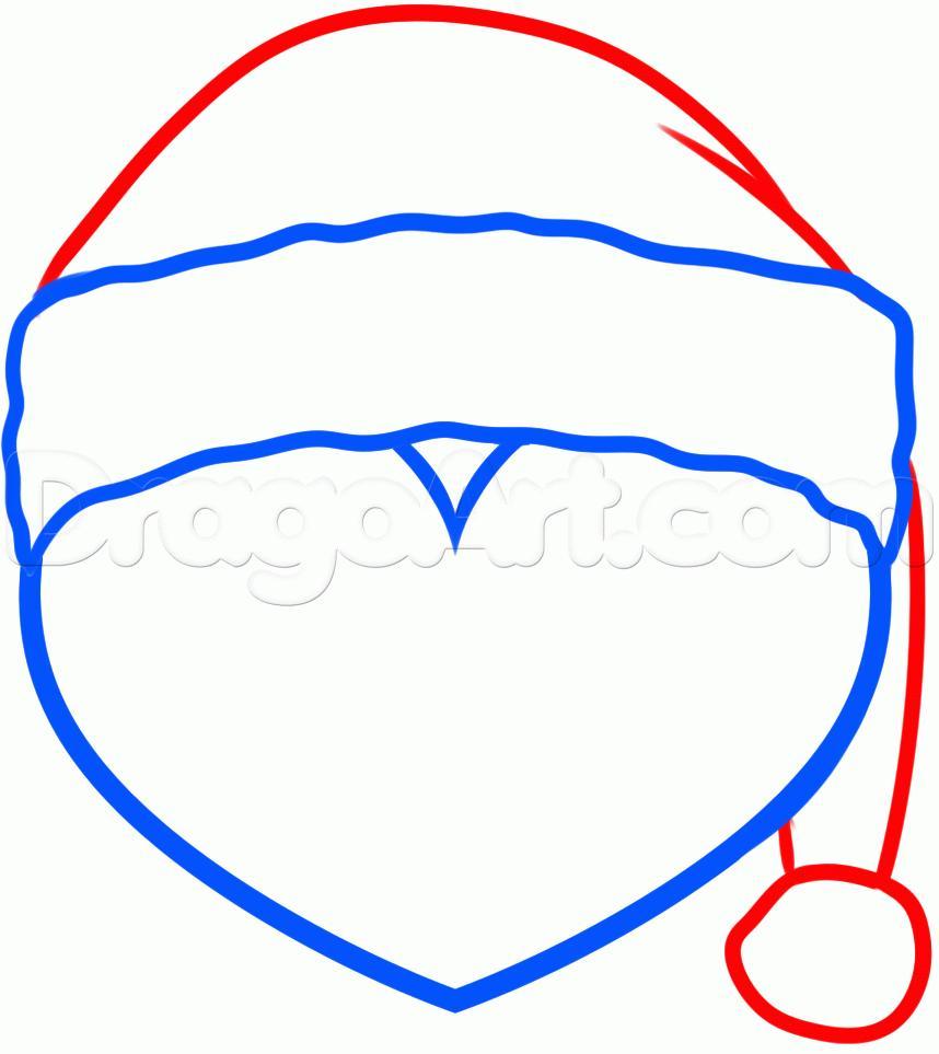 Рисуем сердце с шапкой Санта-Клауса