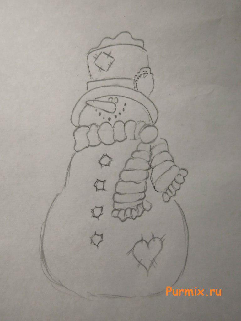 Рисуем красивого снеговика на Новый Год - шаг 3