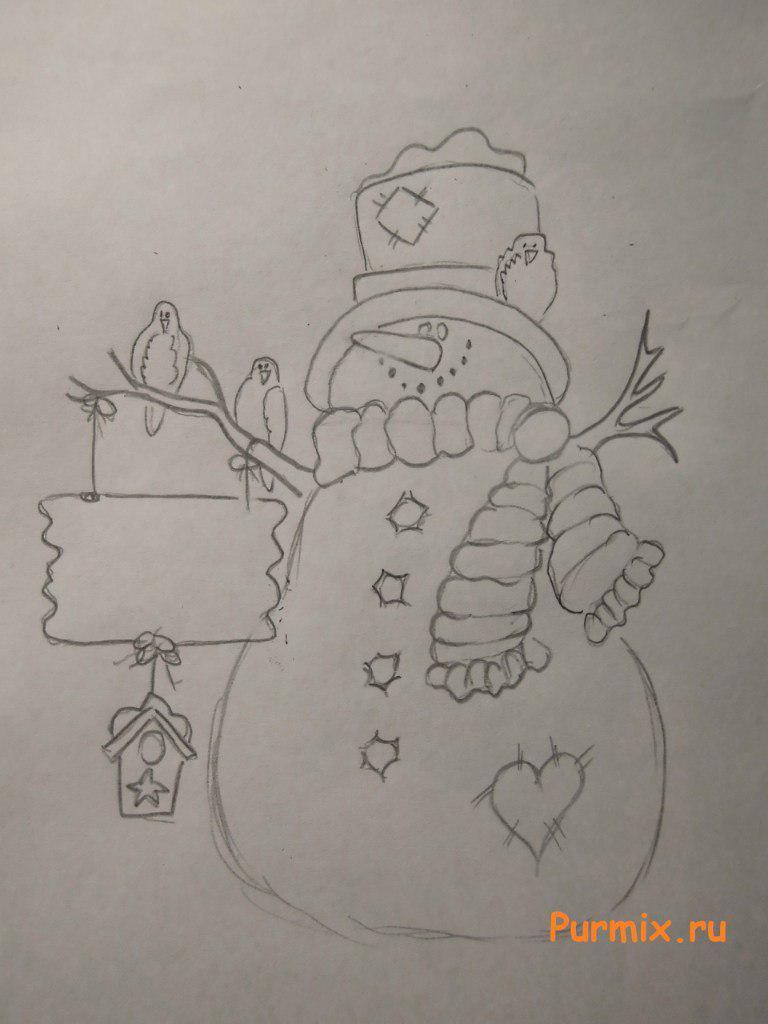 Рисуем красивого снеговика на Новый Год - шаг 4