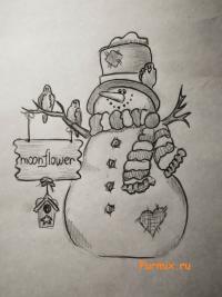 Как нарисовать снеговика на Новый Год простым карандашом