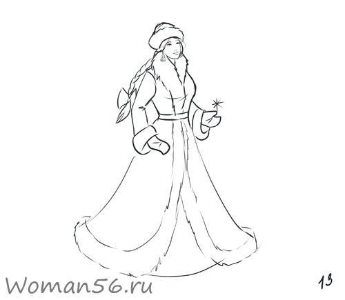 Рисуем снегурочку - фото 13