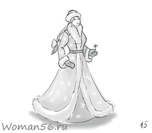Рисуем снегурочку
