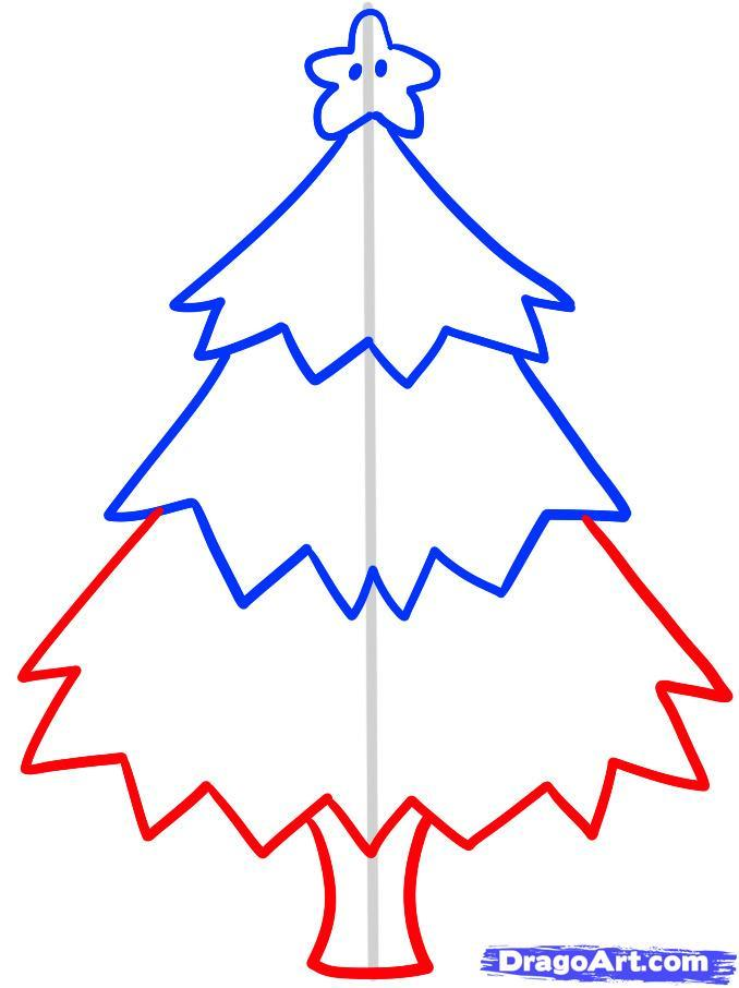 Как просто нарисовать новогоднюю елку - шаг 5