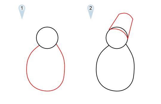 Как просто нарисовать снеговика   для детей - шаг 1