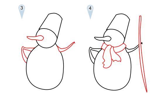 Как просто нарисовать снеговика   для детей - шаг 2