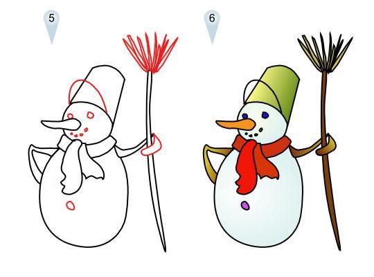 Как просто нарисовать снеговика   для детей - шаг 3