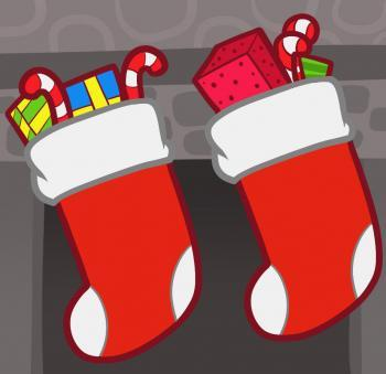 Как рисовать рождественские носки для подарков карандашом