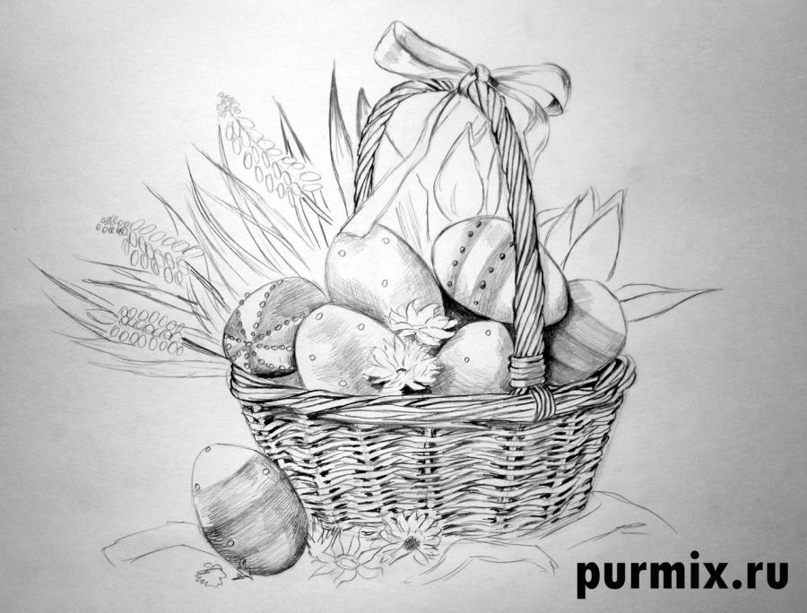 Рисуем корзину пасхальных яиц простым