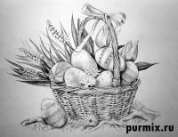 Фото корзину пасхальных яиц простым карандашом