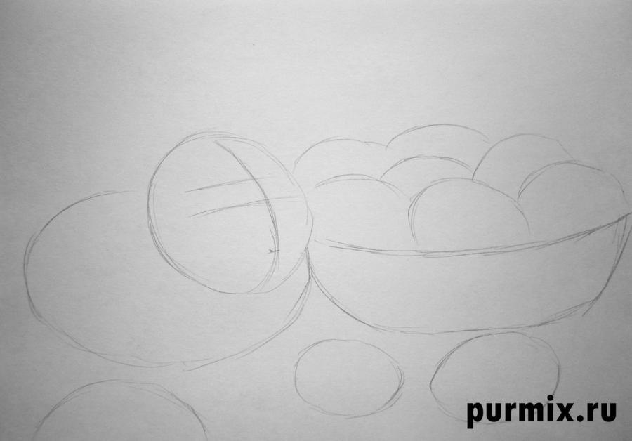 Рисуем кролика и корзину яиц - шаг 1