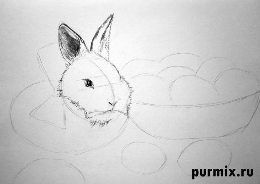 Рисуем кролика и корзину яиц - шаг 3