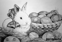 Фото кролика и корзину яиц на Пасху карандашом