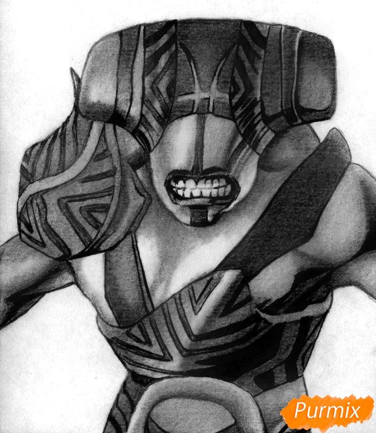 Как нарисовать героя Faceless Void из Dota 2 карандашом поэтапно